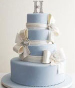 Blue 4 Tiered Wedding Cake