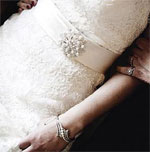 Pearl brooch on a wedding dress
