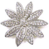 Silver and Crystal Starburst Flower Brooch