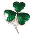 Shamrock Celtic Brooch Green Enamel and Silver