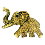 Antique Gold and Topaz Crystal Indian Elephant Brooch