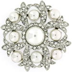Antique Silver Pearl & Crystal Round Flower Brooch