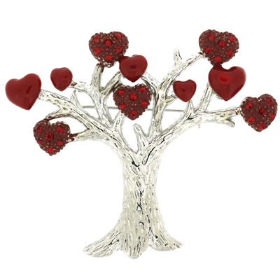 Red Enamel and Crystal Tree of Love Valentines Brooch