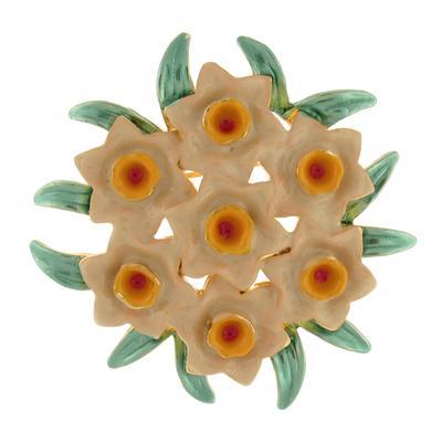 Enamel Seven Daffodil Flower Corsage Bouquet Brooch