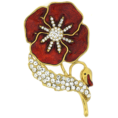 Gold Plated, Swarovski Crystal and Red Enamel Poppy Corsage Brooch