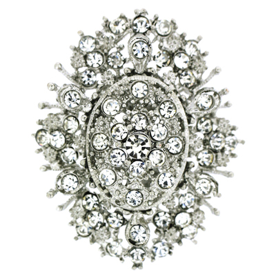 Bridal Antique Filigree Crystal Flower Cluster Brooch Pendant