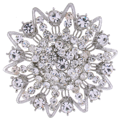 Victorian Crystal Flower Brooch Bridal