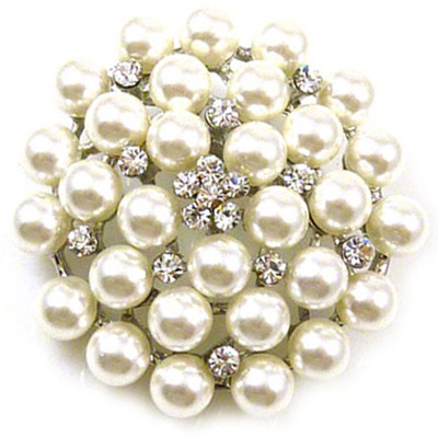 Pearl & Crystal Cluster Flower Brooch Bridal