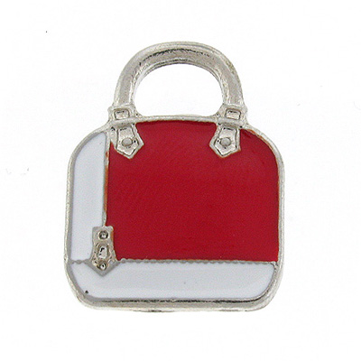 White & Red Enamel Hand Bag Lapel Pin Badge Brooch