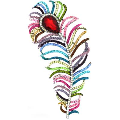 0b10ad1af6d Extra Large Multi-coloured & AB Swarovski Crystal Peacock Feather Brooch