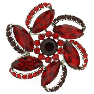 Swarovski Siam Crystal Spiral Sunflower Brooch