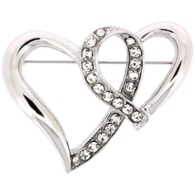 Silver and Crystal Entwined Double Heart Brooch