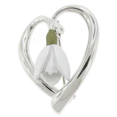 Silver Plated Enamel Snowdrop Flower Heart Brooch
