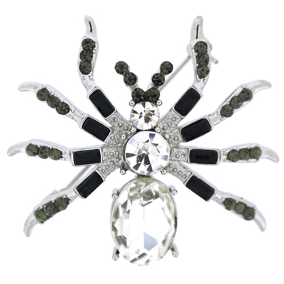 Jet Black Diamond and Crystal Spider Brooch