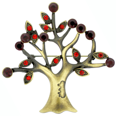 Antique Gold and Siam Red Crystal Tree of Life Christmas Brooch