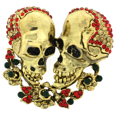 Double Gold & Crystal Skulls and Rose Flower Brooch