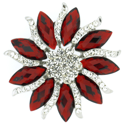 Large Ruby Red Facet Crystal Aster Flower Brooch