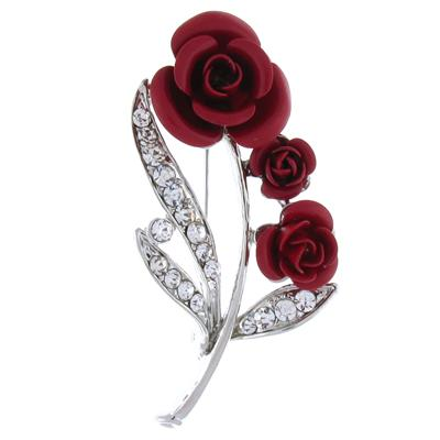 English Triple Red Roses with Crystals Brooch Silver