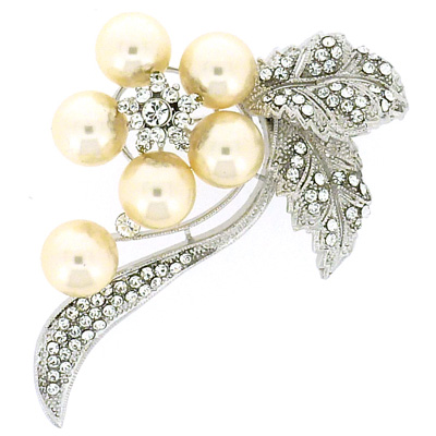 Large Pearl and Swarovski Crystal Spray Flower Corsage Brooch