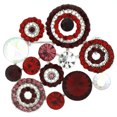 Siam Red Crystal Circle Fashion Brooch