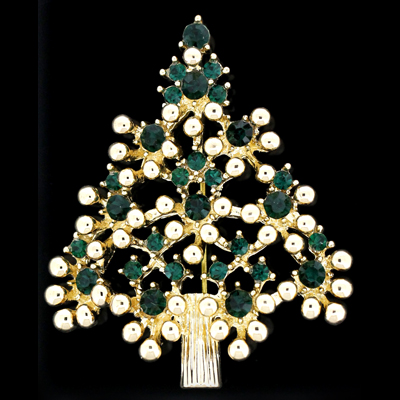 Emerald green swarovski crystal christmas tree with gold for Crystal baubles christmas