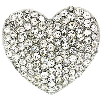 Silver and Crystal Puffed Love Heart Brooch