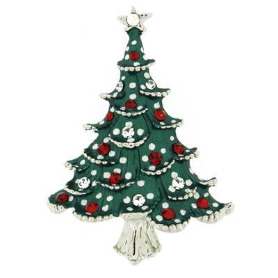 Swarovski Crystal Green Snowy Christmas Tree Brooch