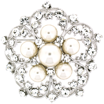 Bridal Pearl & Swarovski Crystal Flower Brooch