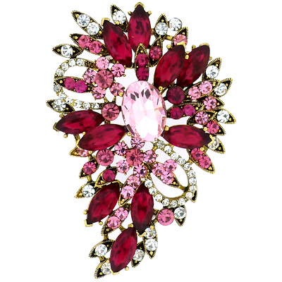 Oversized Gold and Fuchsia Pink Crystal Shower Floral Bouquet Brooch