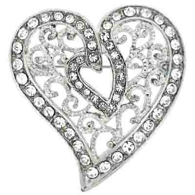 Silver & Swarovski Crystal Filigree Heart Brooch