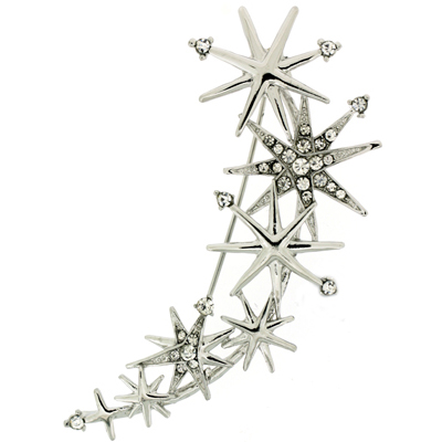 Silver and Crystal Star Rain Brooch