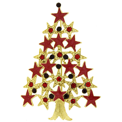 Swarovski Crystal Red and Gold Star Christmas Tree Brooch Pin