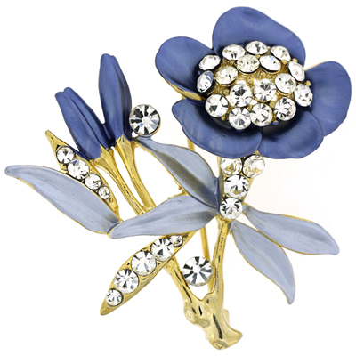 Lilac Enamel and Crystal Bunch of Flowers Brooch (Gold Tone)