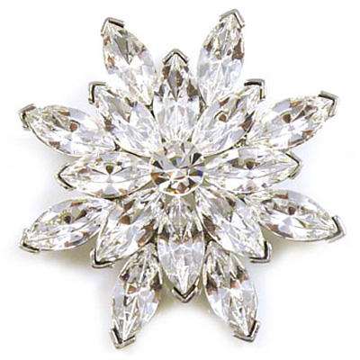 9614d428a Large Silver and Swarovski Crystal Starburst Snowflake Flower Brooch