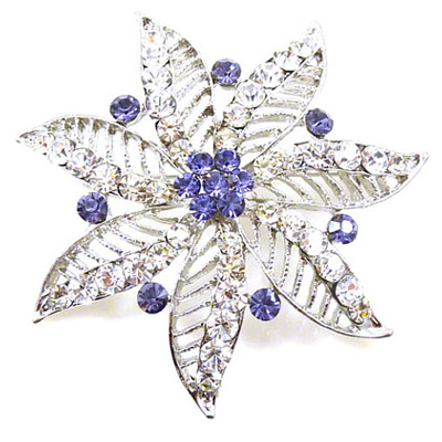 Tanzanite Crystal Filigree Flower Brooch