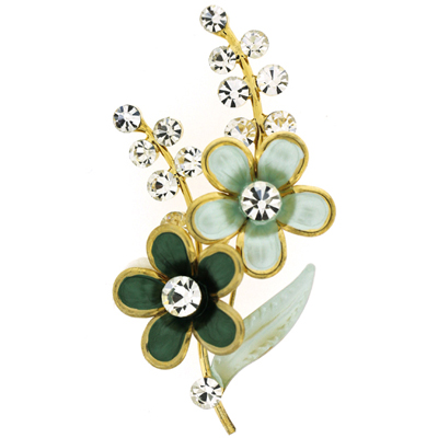 Green Enamel and Crystal Floral Corsage Brooch (Gold Tone)