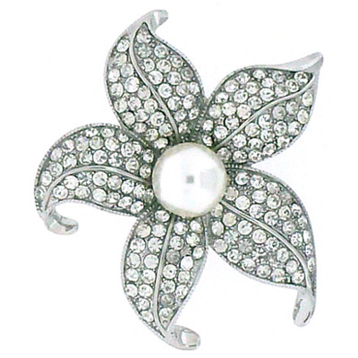 Silver Crystal & Pearl Aster Flower Brooch
