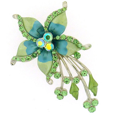 Green and Blue Enamel & Crystal Shooting Flower Brooch