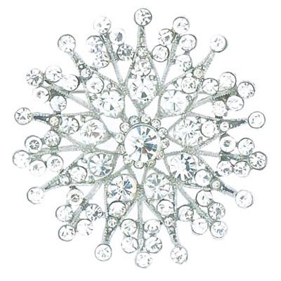 Large Silver & Crystal Snowflake Brooch