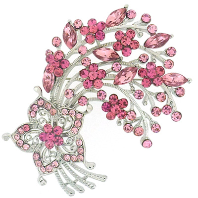 Fuchsia Pink Crystal Floral Spray Brooch