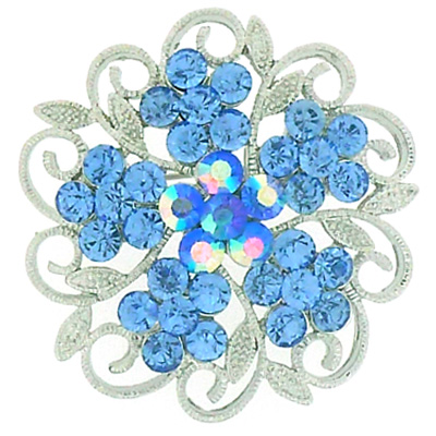 Silver & Aquamarine Blue Crystal Spiral Leaves Flower Brooch