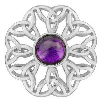 Pewter Celtic Brooch with Amethyst Purple Stone