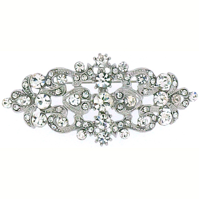 Swarovski Crystal & Antique Silver Victorian Brooch