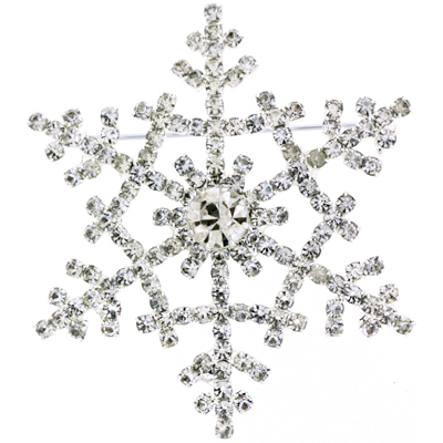 Large Silver & Crystal Winter Starburst Snowflake Brooch