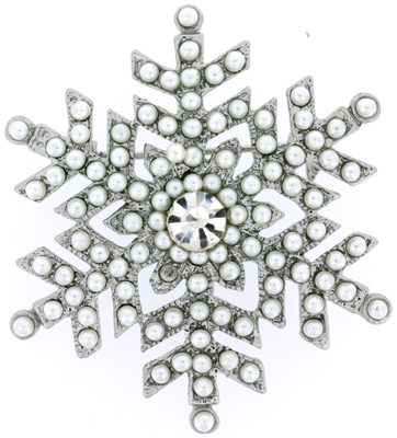 Silver Pearl & Crystal Winter Snowflake Brooch