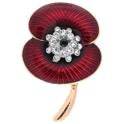 Red Enamel Gold Plated and Clear Crystal Poppy Flower Brooch