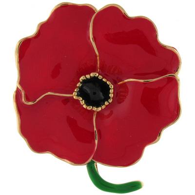 Red Enamel Poppy Flower Brooch