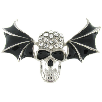 Clear Crystal and Black Enamel Skull & Wings Brooch