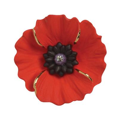 Medium Red Enamel and Swarovski Crystal Peace Poppy Brooch