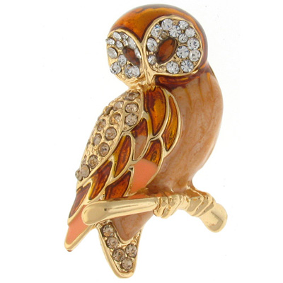Gold Enamel and Crystal Wise Owl Brooch
